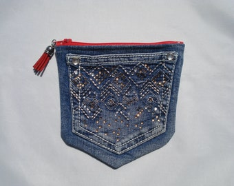 DENIM Jeans POCKETS / Denim Pouch with BLING / Vintage Look Jeans Purse / Two Pocket Zip Pouch / Double Compartments / Upcycled Blue Jeans