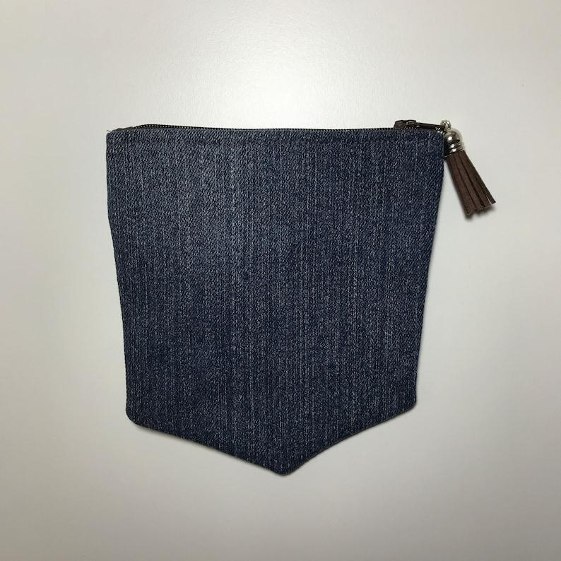 DENIM Jeans POCKETS  Embroidered Denim Purse  Western Look Purse  Faux LEATHER /& Denim  Double Pocket Purse  Juniors Jeans Pocket