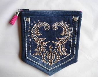 DENIM Jeans POCKETS / Denim Pouch with BLING / Denim Purse / Two Pocket Zipper Pouch / Double Compartment Lined Purse / Upcycled Jeans