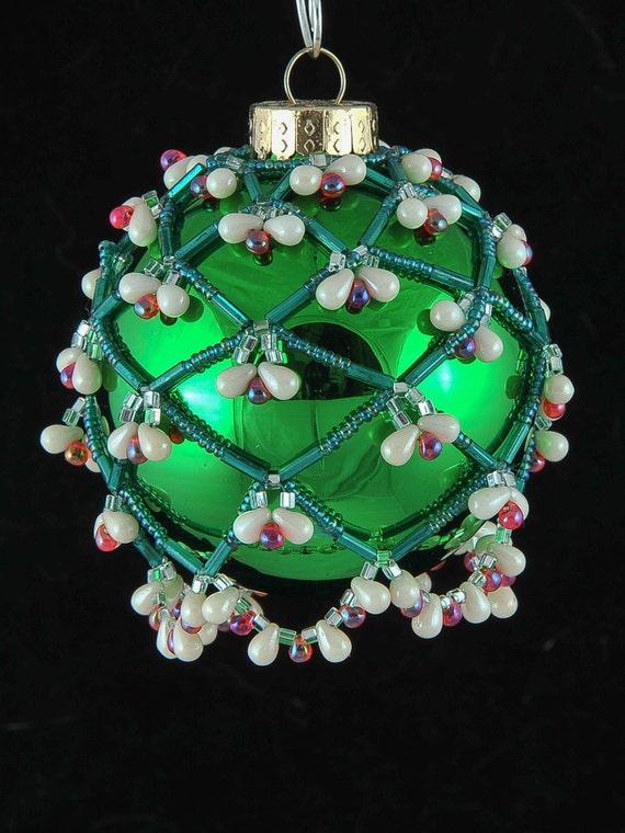 Beaded Christmas ornament cover #2247