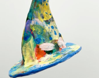 Paper mache witch hat, witch hat ornament, decoration witch hat, Halloween decoration, Witch art