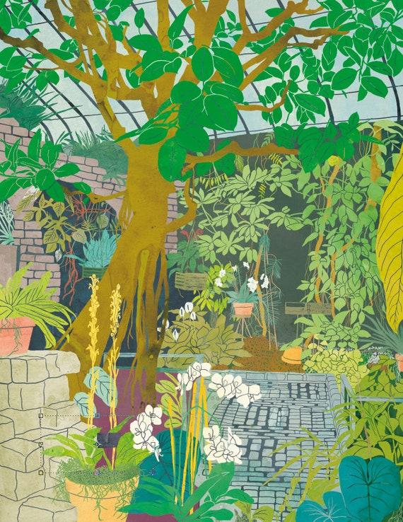 Botanical Garden Illustration Garden Print Botanical Garden Etsy
