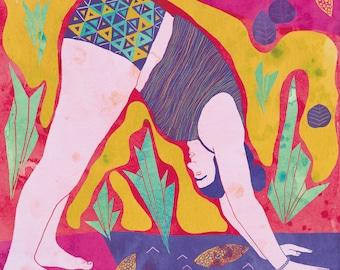 Poster yoga, Yoga Illustration, Yoga pose, Dog pose yoga, Poster Yoga, Yoga Print, Downward facing dog pose, Woman doing yoga, 8.5x11