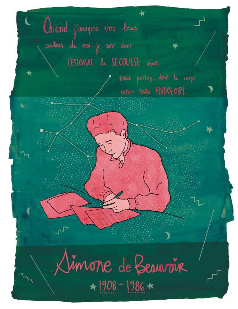 Simone de Beauvoir print Simone de Beauvoir illustration image 0