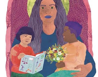 God Illustration, God Print, Feminist print, Feminist poster