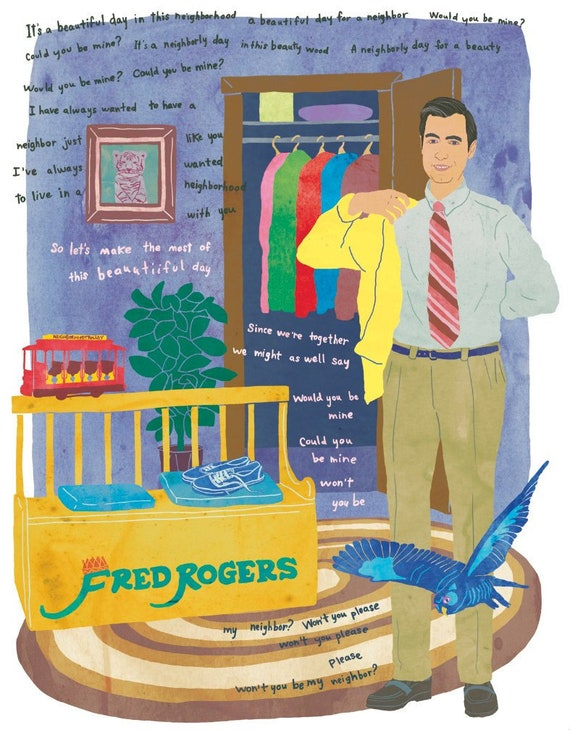 Fred Rogers Illustration Mr Rogers Illustration Mr Etsy