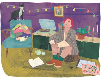 Self-care illustration, Woman illustration, Feminist illustration, Musique illustration