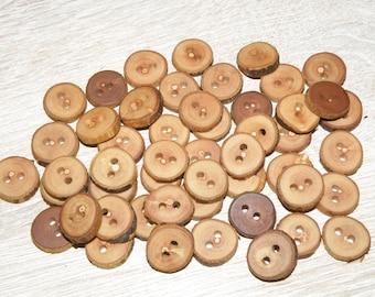 Small 50 Handmade oak wood buttons accessories 0,59 diameter x 0,16 thick