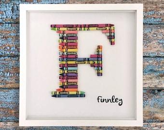 crayon letter monogram nursery art teacher appreciation gift baby art