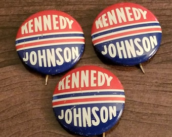 be13c82400c vintage JOHN F KENNEDY   Johnson Political button Vote FOR President in  60  set of 3