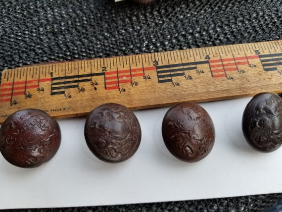 ANTIQUE LEATHER BUTTONS  buttons set of 10