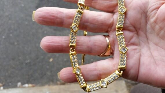 Vintage signed NAPER Necklace Gold tone rhinestones