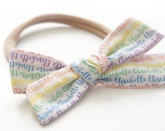 Rainbow Baby Gift - Personalized Bow - Personalized Headband - Baby Name Bow - Personalized Gift - Baby Shower Gift - Custom Name Headband