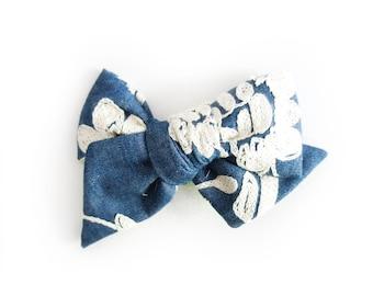 Chambray & Ivory Embroidered Bow - Chambray Bow - Hand Tied Bow - Ivory Floral Embroidered Bow - Pinwheel Bow - Bow Clip - Baby Headband