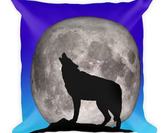Premium Twilight Howling Wolf Pillow