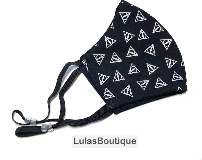 Magic Silver Triangles on Black Face Mask