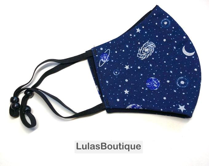 Moon and Stars Glittery Galaxy Face Mask