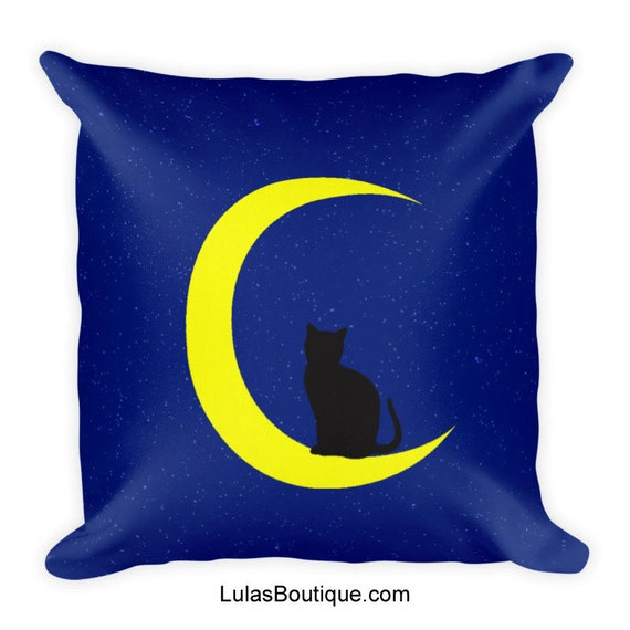 Cat on the Moon Premium Pillow