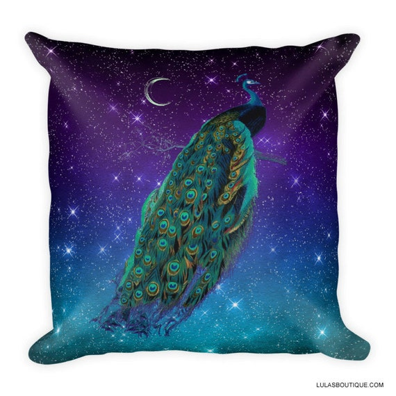 Galaxy Moon Peacock Pillow