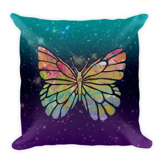 Cosmic Rainbow Butterfly Premium Pillow