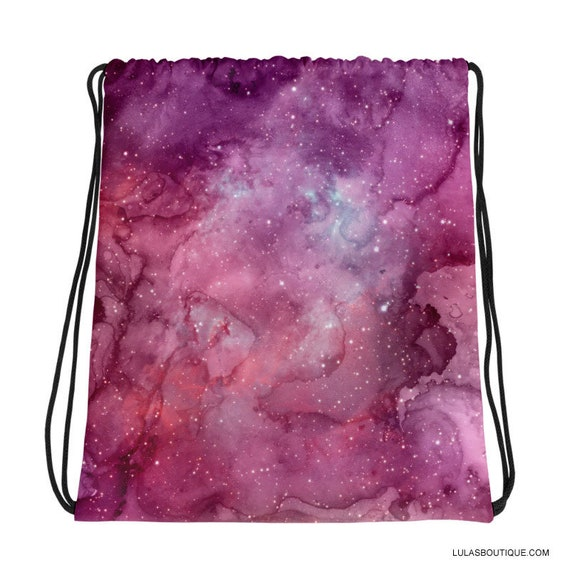 Purple Galaxy Drawstring Backpack Bag