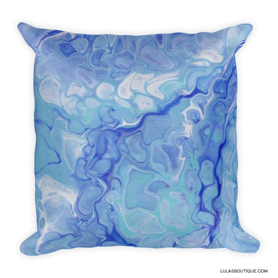Ocean Blue Fluid Art Premium Pillow