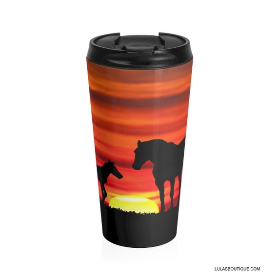 Sunset Horses Stainless Steel Travel Mug