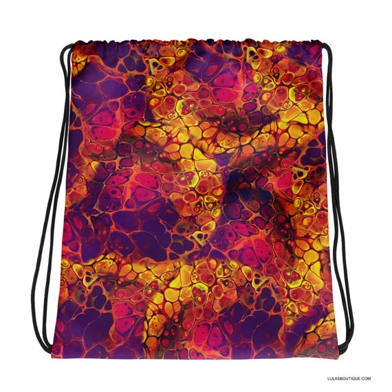 Autumn Fire Fluid Art Paint Patterned Drawstring bag