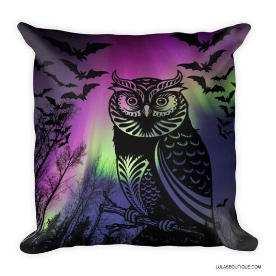 Aurora Borealis Owl Premium Pillow