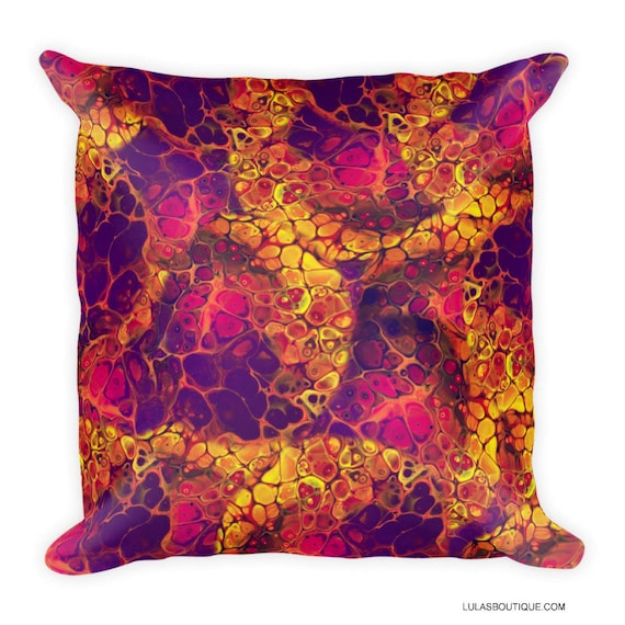 Autumn Fire Fluid Art Painting Premium Pillow