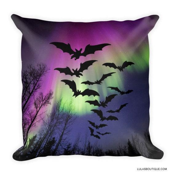 Aurora Borealis Bats Premium Pillow