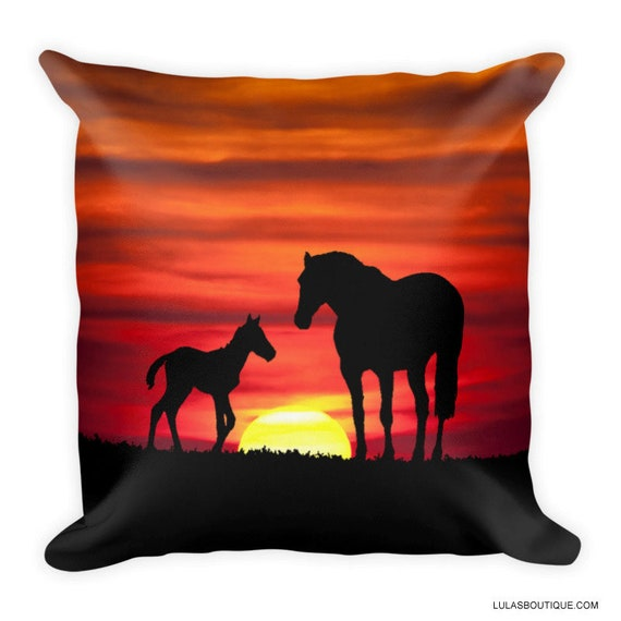 Sunset Horses Pillow