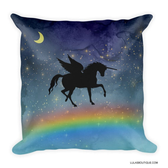 Alicorn Rainbow Galaxy Unicorn Winged Horse Premium Pillow