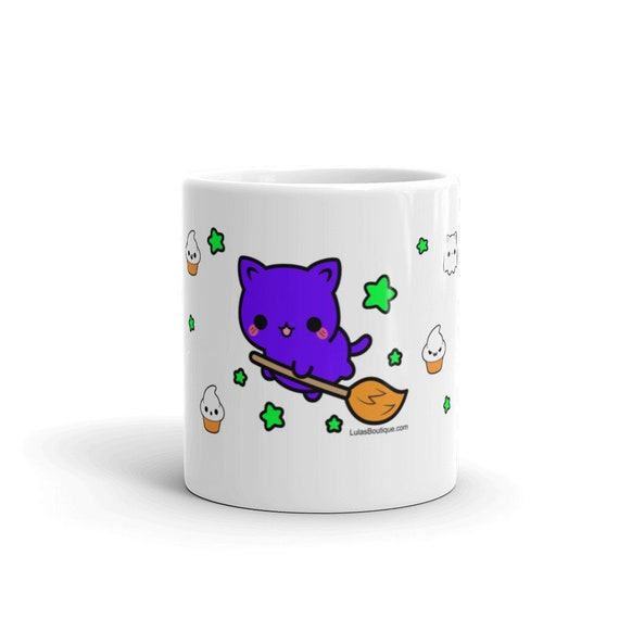 Purple Kitty on a Broom Mug