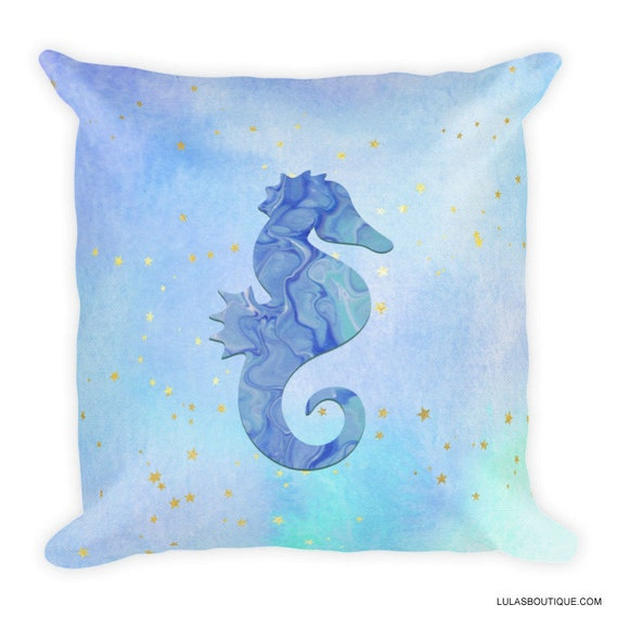 Seahorse Stars and Fluid Art Painting Pattern Blue Ocean Premium Pillow