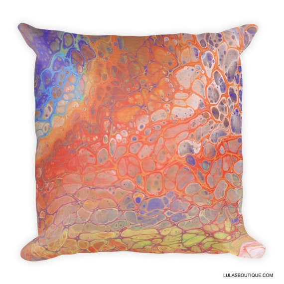 Rainbow Fluid Art Paint Pattern Premium Pillow