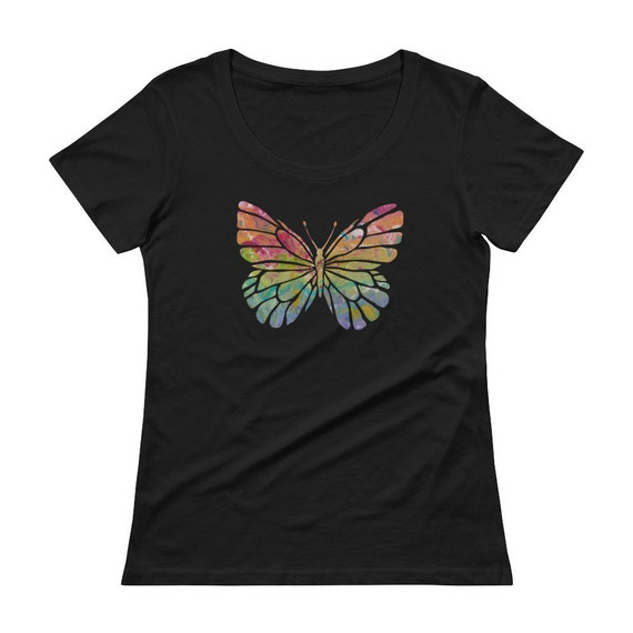 Rainbow Butterfly Ladies' Scoopneck T-Shirt