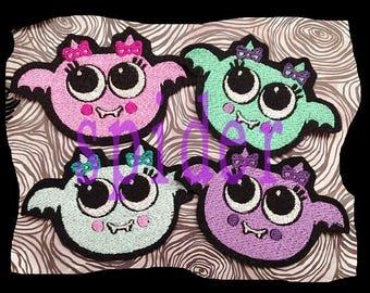 Batsie TM Embroidered Patch Iron on Patch Bat Girl Batty Bats Spooky Cutie