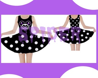 Skull Panda Dress Black and White Polka Dots Skater Dress  Stretchy Creepy Cute Day of the Dead