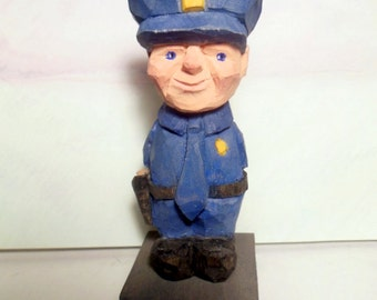 Hand Carved Policeman Caricature Wood Whittled Art Sculpture Handmade Birthday Anniversary Valentines Wedding Woodcarving