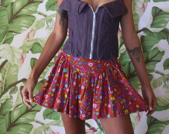 Rayon Mini Skirt / Betsey Johnson Skirt /  1990's Skirt / Nineties Grunge Era  /