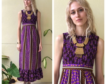 eea76a7cecaf RESERVED 1960's Dress / Smocked Bust / 60s Anna Sui Look / Floral Purple  Maxi Dress / Sleeveless Summer Haute Hippie Dress