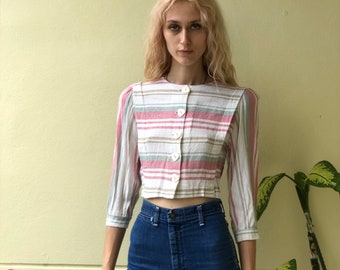 3bf35011b34b1c 80s Crop Top / Horizontal Cropped Stripe Jacket / Nineties Cropped Linen Top  / Coachella / Belly Midriff Top / Neutral Basic Top
