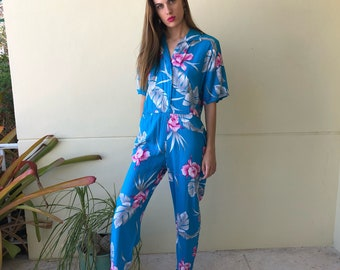 4326f49c2d4 80s Romper   Hawaiian Rayon Jumpsuit   Blue Hawaii   Easy Outfit   Casual  California   Floral Print   Pants Jumpsuit
