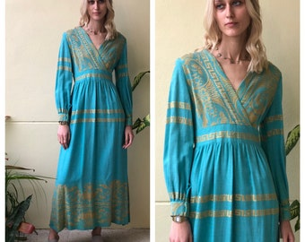0a1b7285fe 1960s Maxi Dress   Turqouise and Gold   Resort Wear   Cotton Vintage Dress    Vintage Maxi Dress   Beach Wear   Haute Hippie Dress