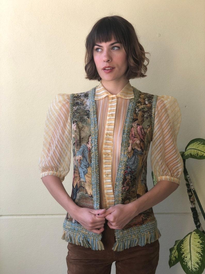 1960s Carpet Tapestry Vest  Romantic Fringe Waist Coat  Dancing Novelty Embroidered Waist Coat