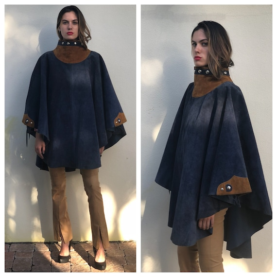 1970's Leather Cape / Studded High Neckline Suede