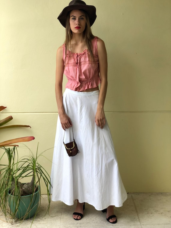 Antique Maxi Skirt / Victorian White Skirt / Vinta