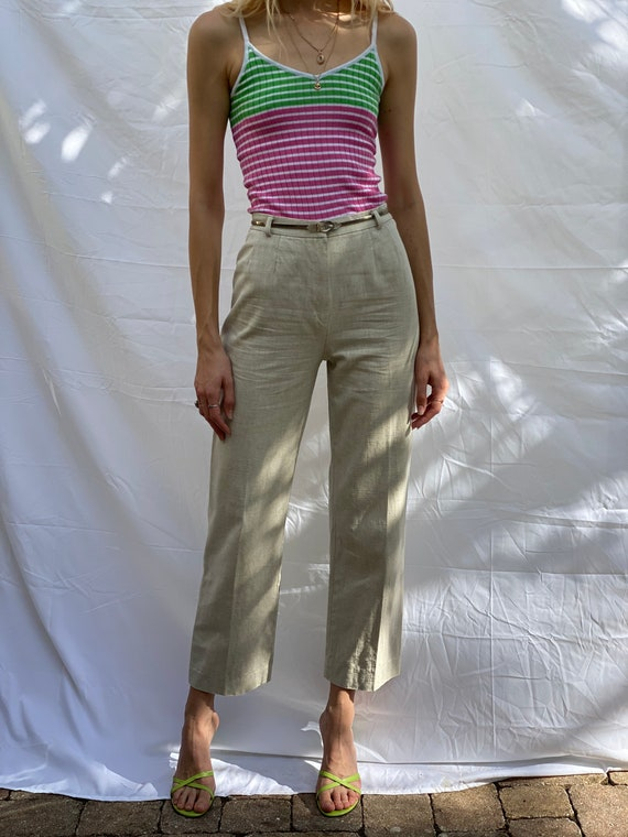 60s Cotton Trousers / Light Tan Linen Rayon and Co