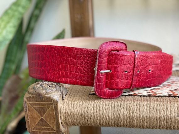 Red Reptile Snakeskin / High Waist Belt / The Ritz